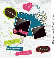 fresco, scrapbooking, elementi, set.
