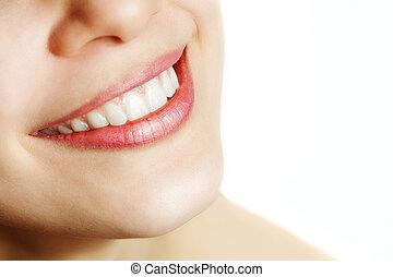 fresco, sonrisa, de, mujer, con, dientes sanos