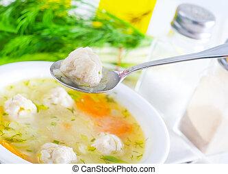 fresco, sopa, com, carne, bolas