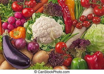 fresco, sortimento, legumes