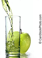 fresco, succo mela, in, vetro, con, mela verde, isolato,...