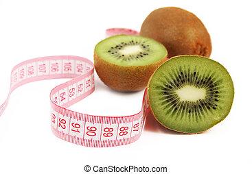 fresco, succoso, frutta kiwi, con, tapemeasure