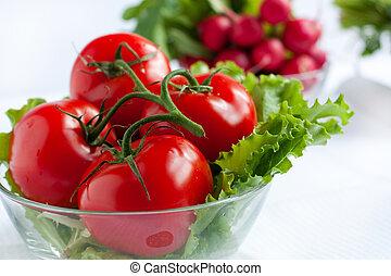 fresco, succoso, grande, pomodori