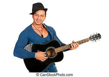 fresco, sujeito, com, chapéu, violão jogo