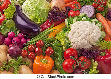 fresco, surtido, vegetales