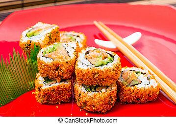 fresco, sushi, tradicional, alimento japonês