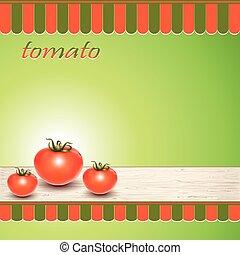 fresco, tavola., pomodori, rosso