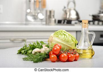fresco, tavola, verdura, cucina