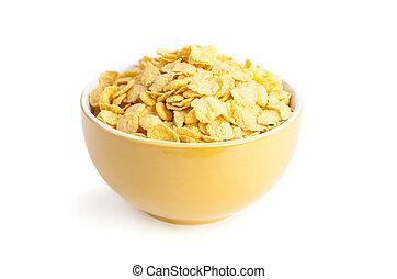 fresco, tazón, copos de maíz, cereal