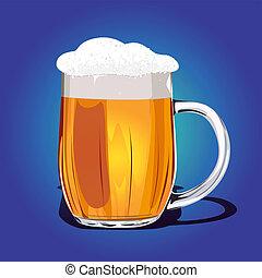 fresco, tazza, vettore, birra, illustrazione
