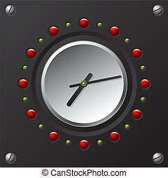 fresco, tecnologia, disegno, vettore, orologio