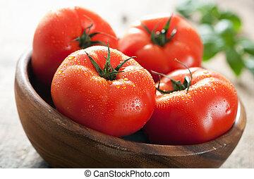 fresco, tigela, carne, tomates