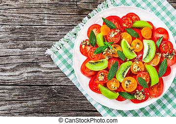 fresco, tomate, salada, close-up, vista superior
