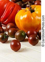 fresco, tomates maduros, heirloom