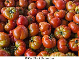 fresco, tomatoes., rosso, tomatoes., villaggio, mercato,...