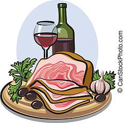 fresco, toucinho, vinho tinto