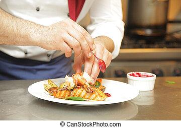 fresco, uomo, carne, mani