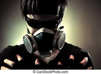 fresco, uomo, in, maschera protettiva