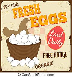fresco, uova, vendemmia, manifesto