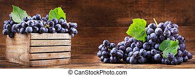 fresco, uva, en, un, caja de madera