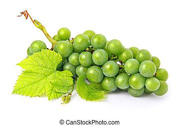 fresco, uva, fruits, con, hojas verdes, aislado