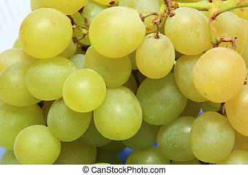 fresco, uva, fruits, con, hojas verdes