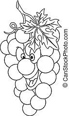 fresco, uvas, caricatura