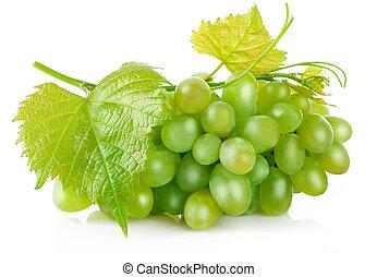 fresco, uvas verdes, com, folha, colheita, fruta