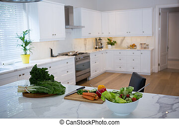 fresco, vário, worktop, legumes, cozinha