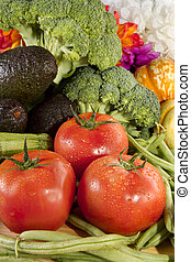 fresco, variado, vegetales