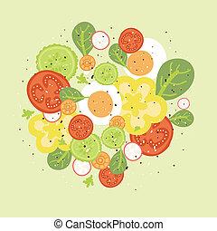 fresco, vector, ensalada, ilustración