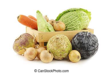 fresco, vegetabl, invierno, colección