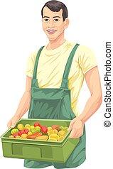 fresco, vegetables., vector, granjero