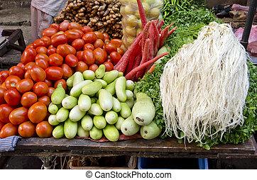 fresco, vegetariano, vegetal, em, ásia, mercado, índia