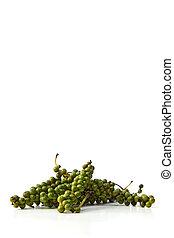fresco, verde, ramos, granos de pimienta