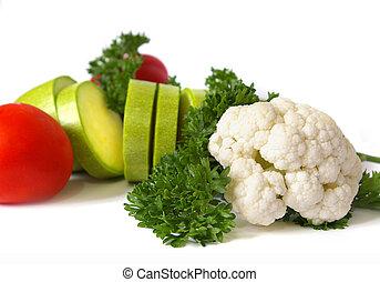 fresco, verduras cruas, branco
