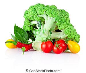 fresco, verduras cruas, isolado, branco, fundo