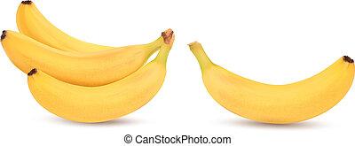 fresco, vetorial, bananas, white., isolado