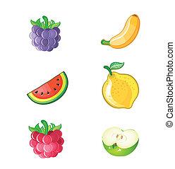 fresco, vetorial, jogo, frutas