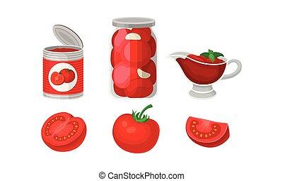 fresco, vetorial, tomatoes., branca, enlatado, ilustração, experiência., jogo