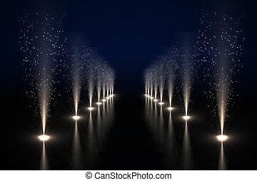 fresco, vida nocturna, luces