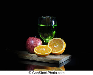 fresco, vino vidrio, cortar, rojo, cortar, tablero de madera...