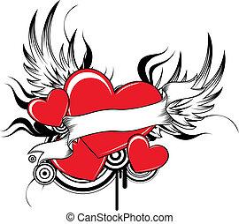 fresco, winged, corações