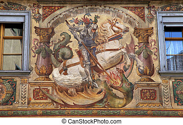 fresco with  St. George on medieval building