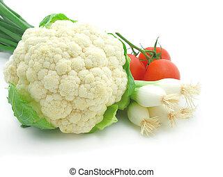 fresco, y, brillante, vegetales