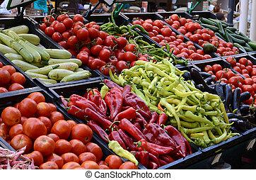 fresco, y, orgánico, vegetales, en, mercado de productos de granja
