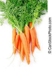 fresco, zanahoria, fruits, con, hojas verdes