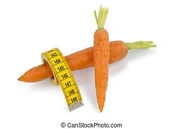 fresco, zanahorias, con, cintamétrica