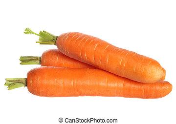 fresco, zanahorias, tres