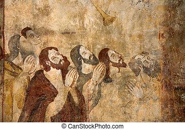 frescoes, alquezar, spanyolország